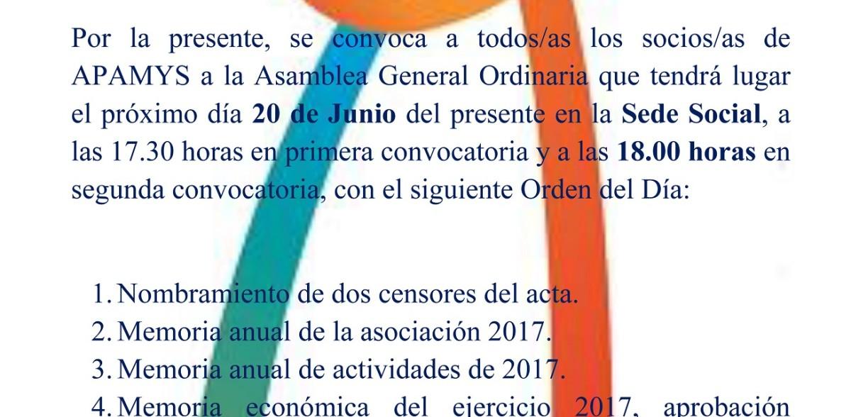 CONVOCATORIA DE ASAMBLEA GENERAL ORDINARIA DE APAMYS